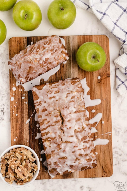 Apple walnut bread is a sweet apple bread recipe with walnuts! Perfect apple quick bread recipe with a light glaze that everyone loves!
