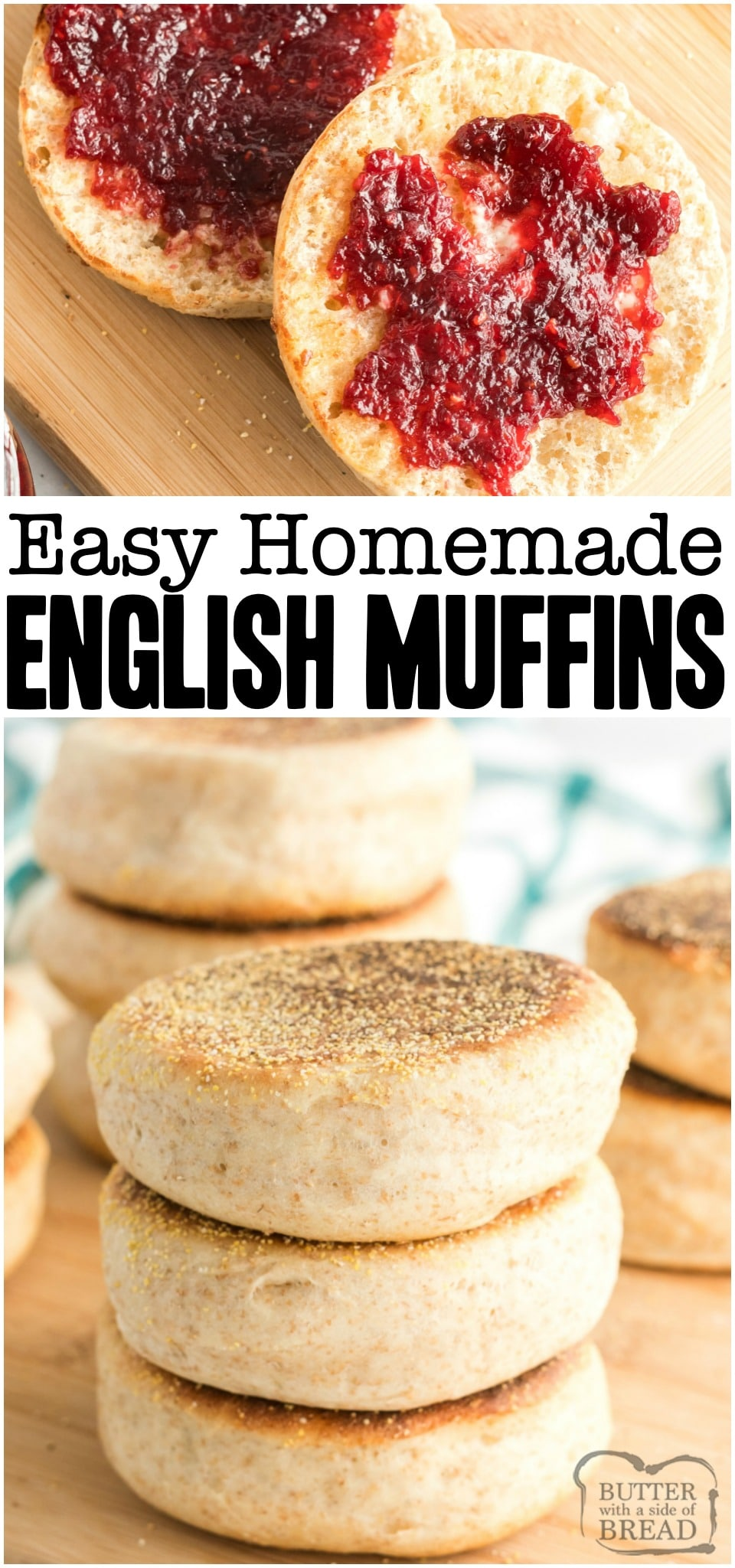 Homemade English Muffins are so simple to make that you'll never want to buy store-bought again. Fluffy English muffin recipe full of nooks and crannies! You'll love everything from the smell to the textures and flavors. #bread #yeast #homemade #muffins #EnglishMuffins #recipe from BUTTER WITH A SIDE OF BREAD