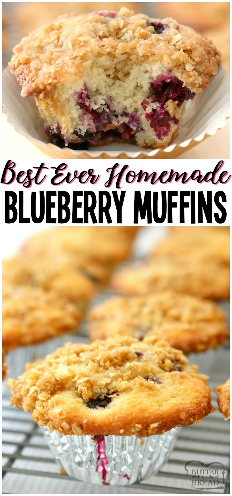 Best Blueberry Muffins that are light, flavorful and full of sweet, juicy blueberries! Family favorite blueberry muffin recipe that's been perfected over the years. Everyone loves the buttery streusel topping!
