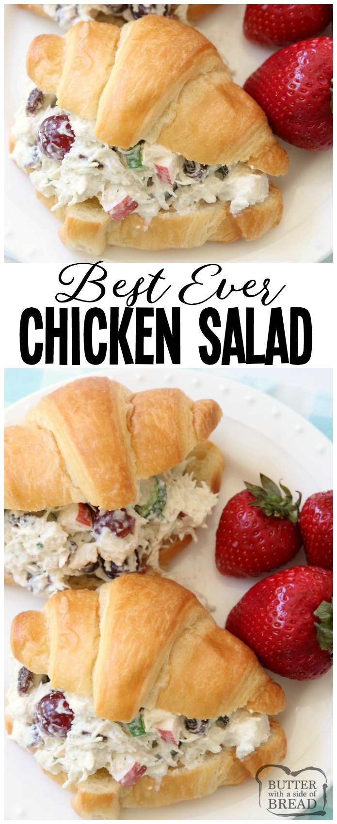 Easy 5-Minute Chicken Salad recipe that's the BEST I've ever tasted! The simple dressing really makes it perfect. Chicken Salad recipe made with diced chicken, plain yogurt, apples, grapes, celery, cucumber, raisins and more! Great as chicken salad sandwiches or in lettuce as a wrap or on crackers. #chicken #salad #lunch #brunch #chickensalad #protein #healthy #recipe from Butter With A Side of Bread