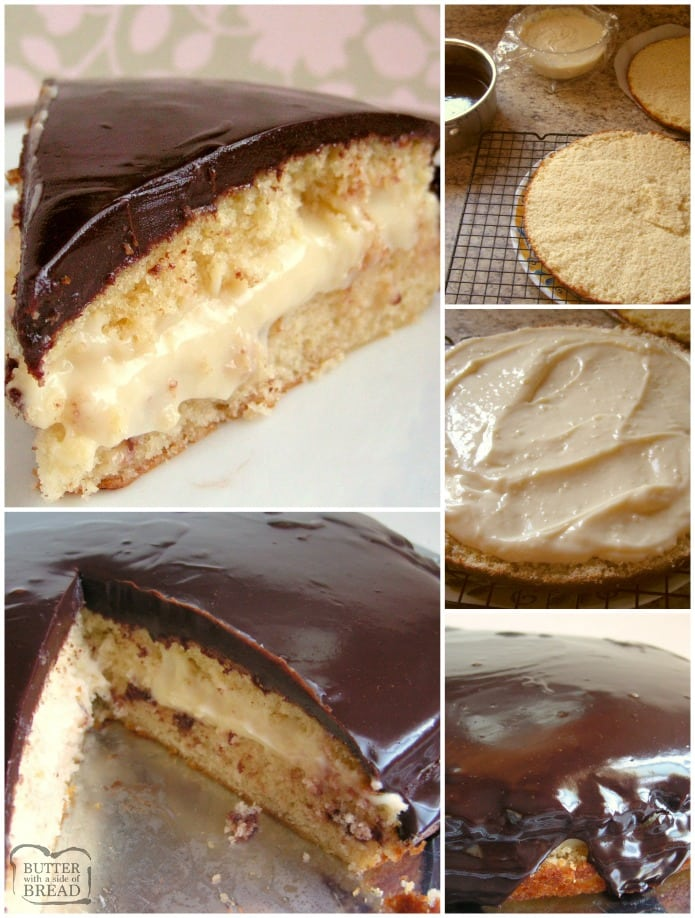 Boston Cream Pie made from scratch in your own kitchen! Step by step instructions on how to make vanilla custard, easy single layer cake and smooth, rich chocolate ganache for this classic Boston Cream Pie recipe. Layer it all together and you've got a show stopping dessert that tastes incredible.
