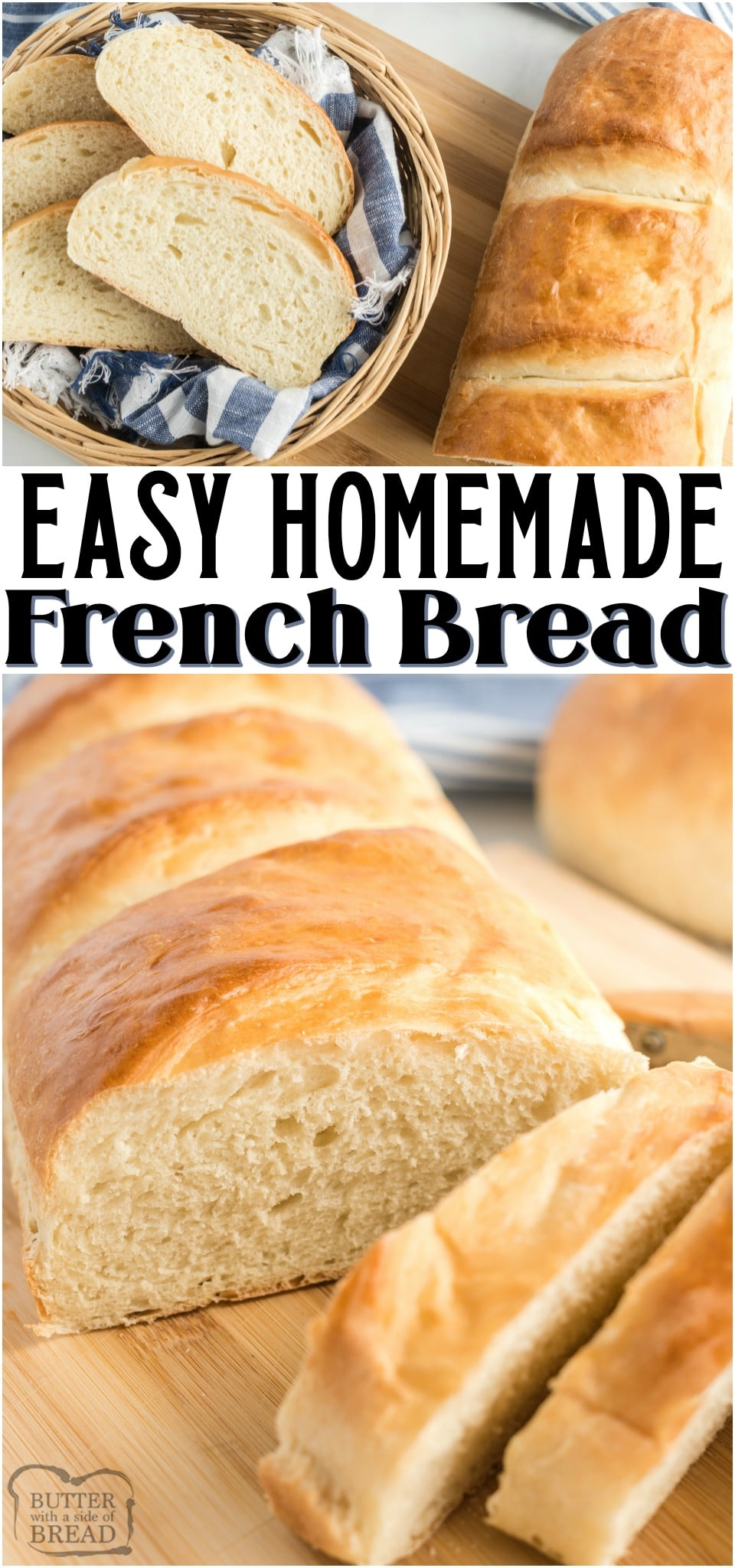 This French Bread recipe is a simple and easy one that will give you two gorgeous loaves of homemade French Bread in under 2 hours! It's the perfect way to make homemade bread for dinner! #bread #homemade #FrenchBread #breadrecipe #baking #yeast #recipe from BUTTER WITH A SIDE OF BREAD
