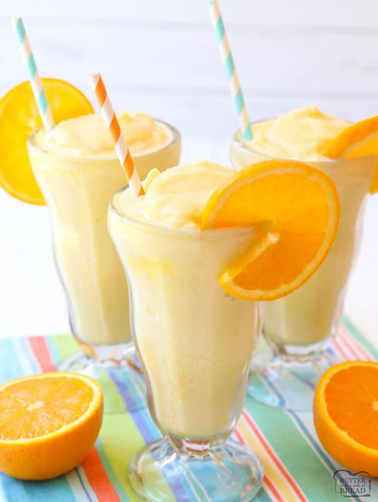 Orange Julius recipe made EASY! Just 5 ingredients & 5 minutes to enjoy a refreshing, sweet, citrusy frozen beverage at home. Perfect orange flavor and simple instructions with video that show how to make an Orange Julius.