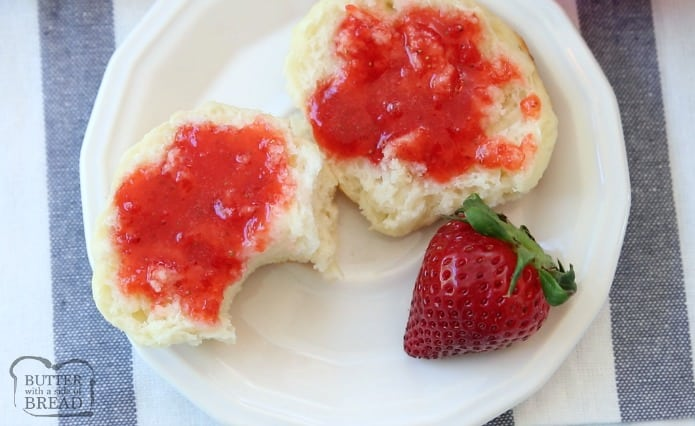 Homemade Strawberry Jam made with just 3 ingredients and NO PECTIN. Making strawberry freezer jam has never been easier or more delicious!