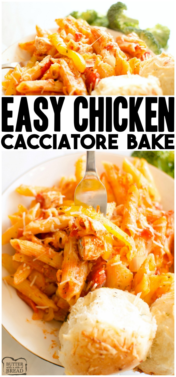 One-Pot Chicken Cacciatore is a simple & delicious chicken dinner. Easy Chicken Cacciatore recipe baked with pasta, chicken, tomatoes, peppers & cheese in about an hour. Quick & easy chicken recipe perfect for weeknight dinners.
