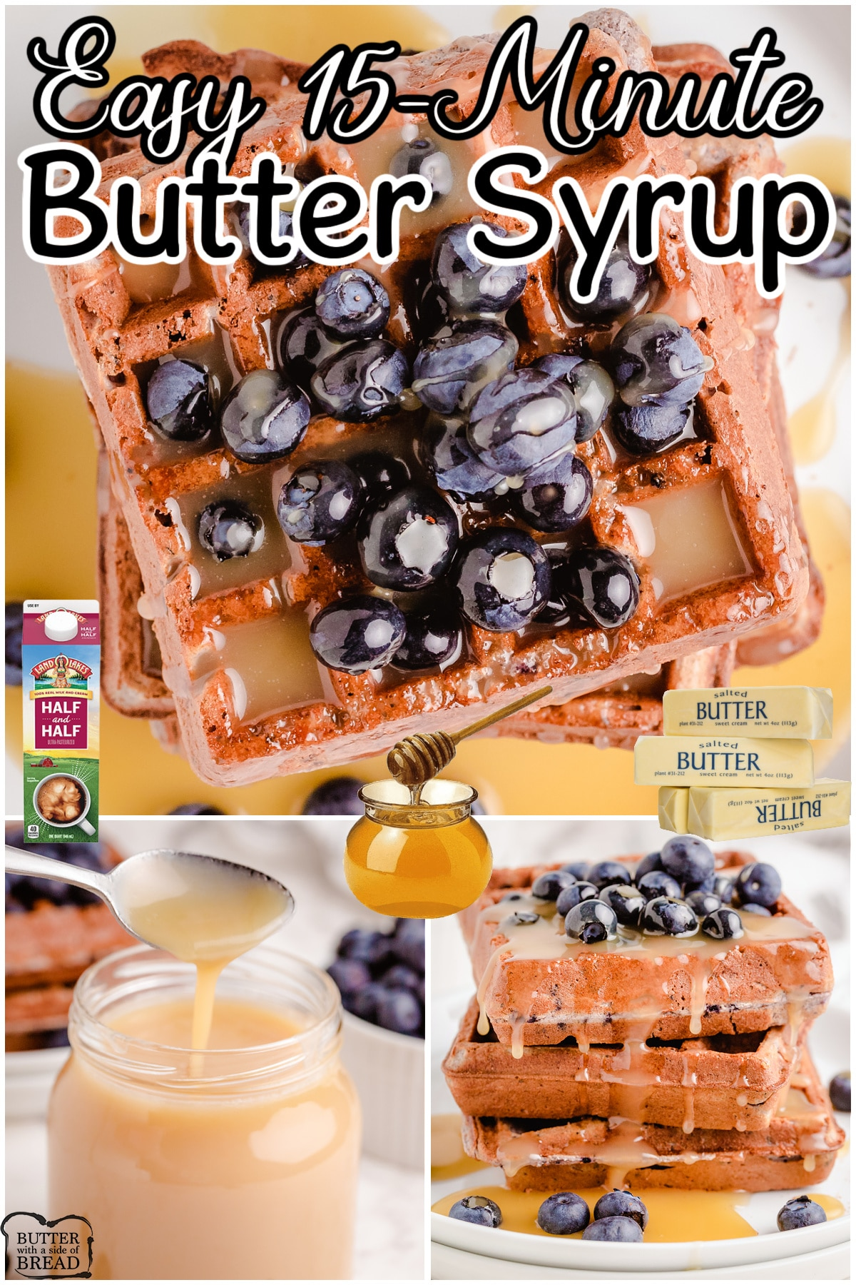 butter syrup on waffles with blueberries