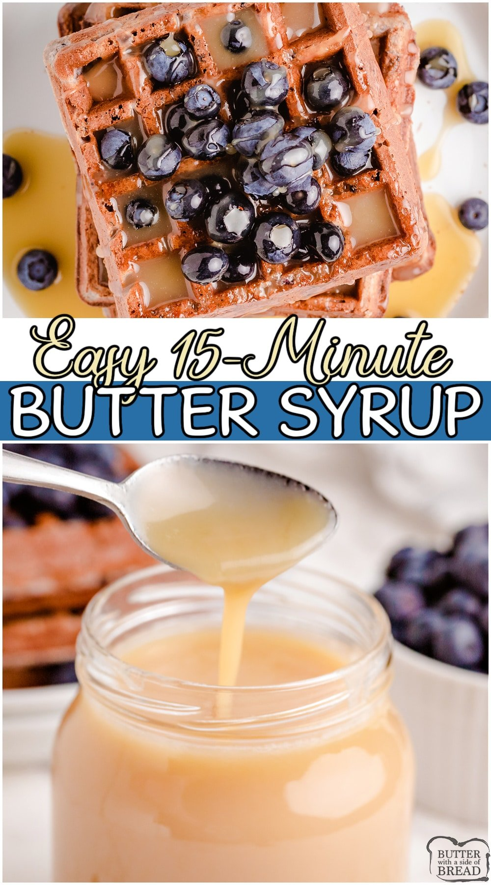 Amazing homemade butter syrup made with butter, sugar, cream & vanilla! Light in color with a delicious caramel-like flavor that is perfect on pancakes, waffles, crepes, etc! #syrup #butter #vanilla #breakfast #easyrecipe from BUTTER WITH A SIDE OF BREAD