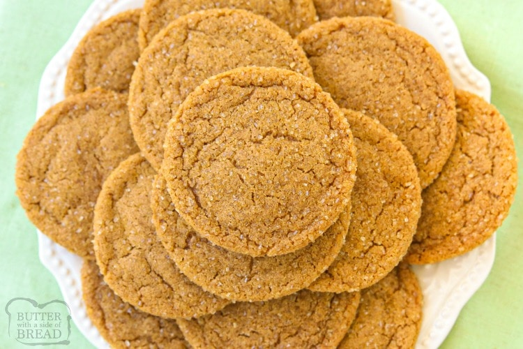 Spiced Ginger Cookies made with molasses and a lovely blend of holiday spices. Perfect soft Ginger Molasses Cookies for Christmas!