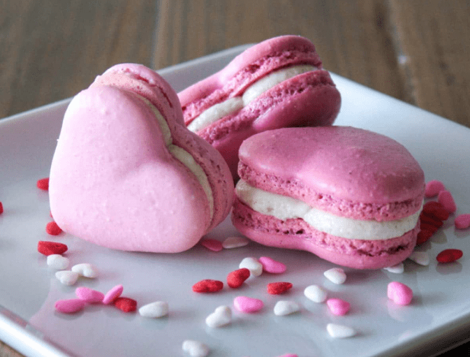 Heart Shaped Pink Macarons for Easy Valentine's Dessert Recipes