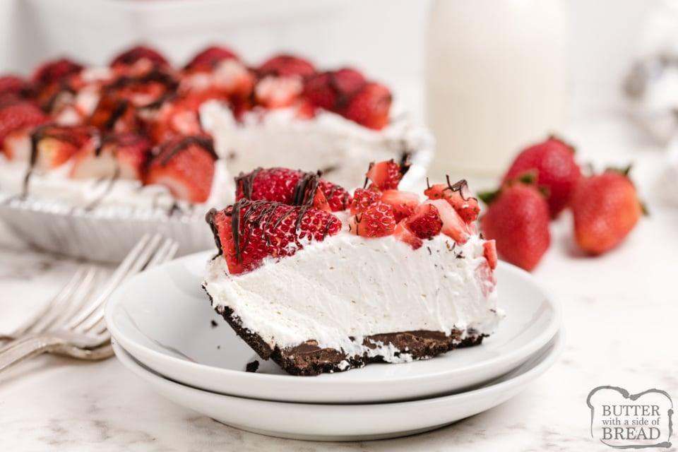 Slice of no-bake strawberry and cream pie