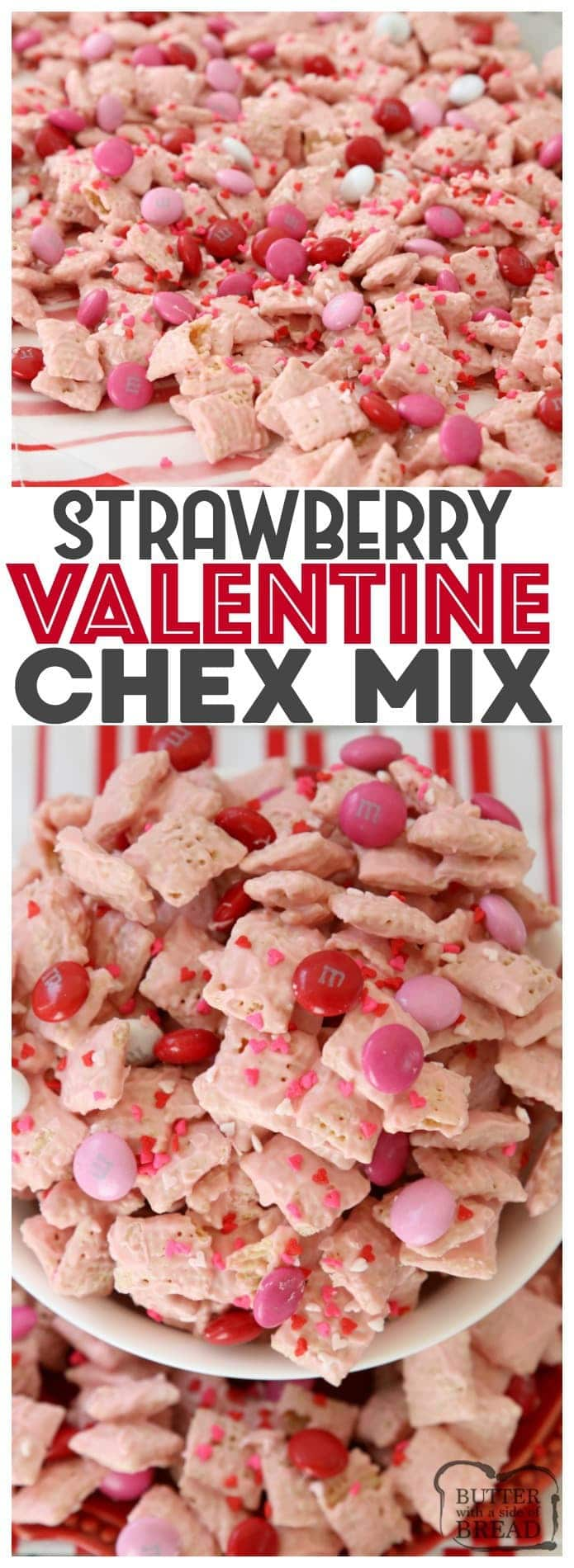 Strawberry Valentine Chex Mix is easy to make, fun & perfectly festive for #Valentines Day! #Strawberry white #chocolate coating on Chex cereal with added chocolate #candy is the perfect sweet #treat! #Recipe from Butter With A Side of Bread #dessert #ValentinesDay #pink #sprinkles