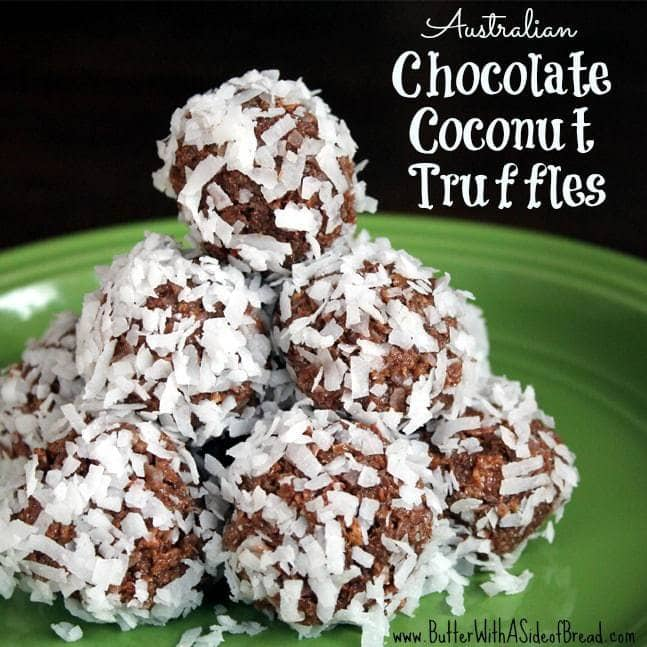 When I moved to the U.S.A.from Australia, at age 16,there were very few foods that I really missed.One of these, which is one of my favorites, is Chocolate Truffles. After I married my husband, I found out that he is allergic to coconut so I haven't made these since marrying him almost 10 years ago. I needed an excuse to make them, so what better than here for Butter with a Side of Bread!!