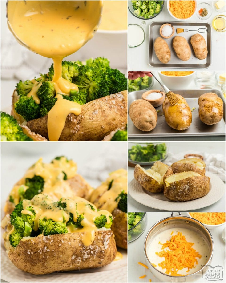 Best Baked Ptoatoes with Broccoli and Cheese Sauce