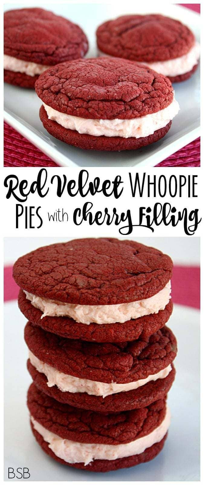 Red Velvet Whoopie Pies with Cherry Cream Filling - Butter With A Side of Bread