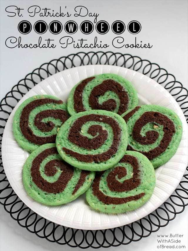 Chocolate Pistachio Pinwheel Cookies are an impressive looking cookie that tastes great and fits in well with the festive green celebrated on St. Patricks Day!