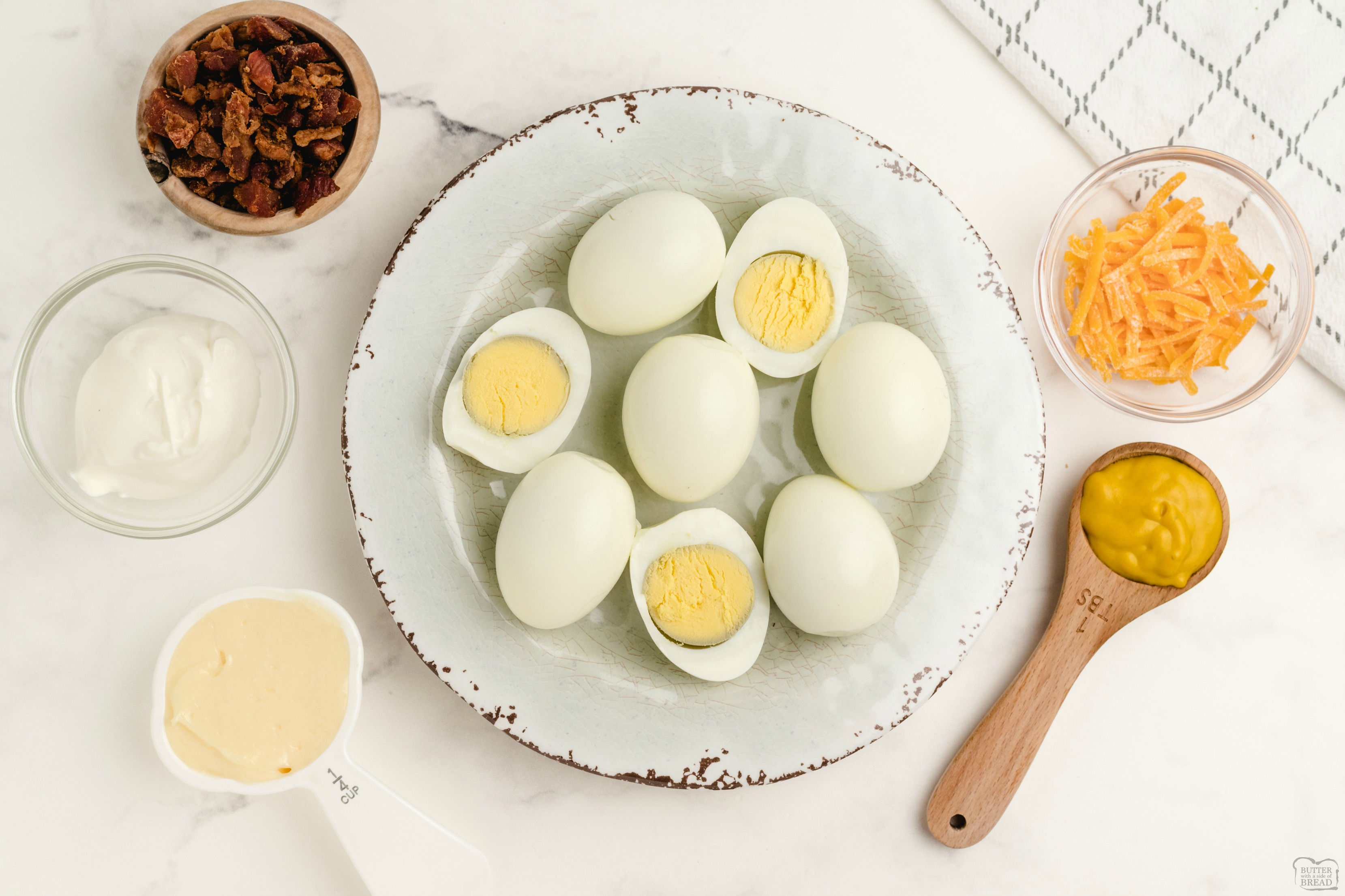Easy Bacon Cheddar Deviled Eggs recipe