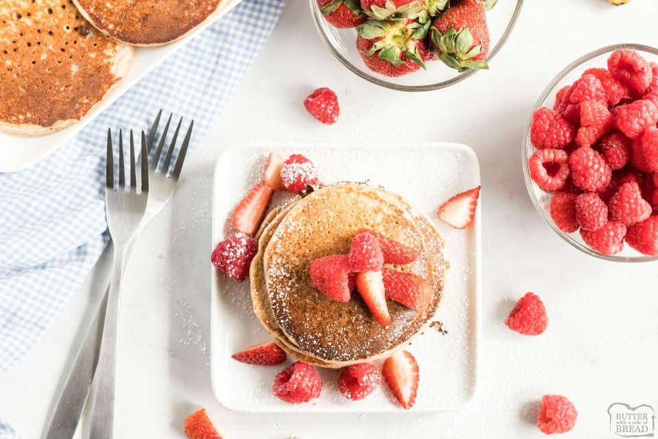 Easy Protein Pancakes recipe packed with protein and healthy ingredients to make a gluten free low carb pancake worthy of your breakfast table.