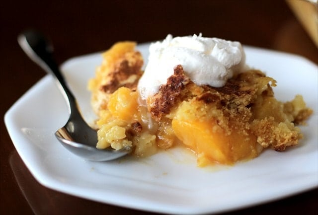 PEACH COBBLER from Cake Mix and Soda! Butter with a Side of Bread