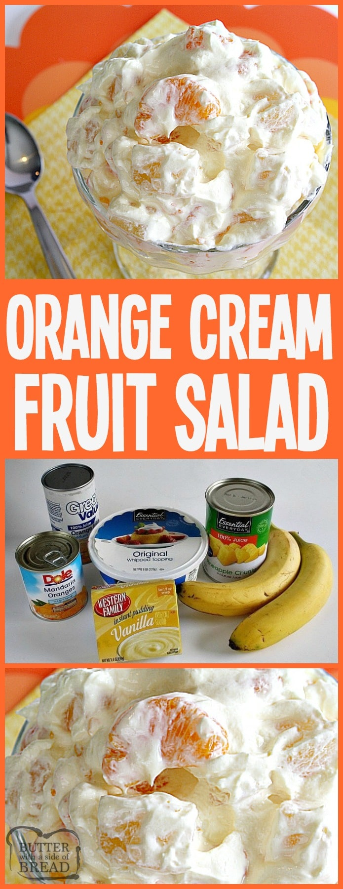 Orange Cream Fruit Salad is a lovely fruit salad filled with oranges, pineapple and bananas with a sweet orange cream mixed in! Perfect to go alongside Easter dinner! Easy Orange Fruit Salad recipe from Butter With A Side of Bread