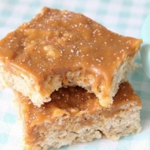 Caramel Rice Krispie Treats are soft, chewy marshmallow squares topped with smooth, rich caramel for an incredible take on traditional rice krispie treats.