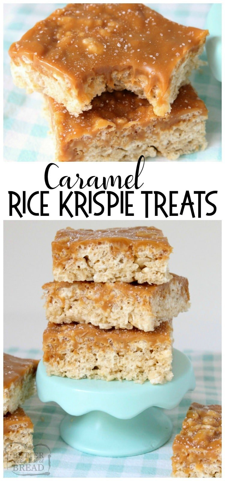 Caramel Rice Krispie Treats are soft, chewy marshmallow squares topped with smooth, rich caramel for an incredible take on rice krispie treats.
