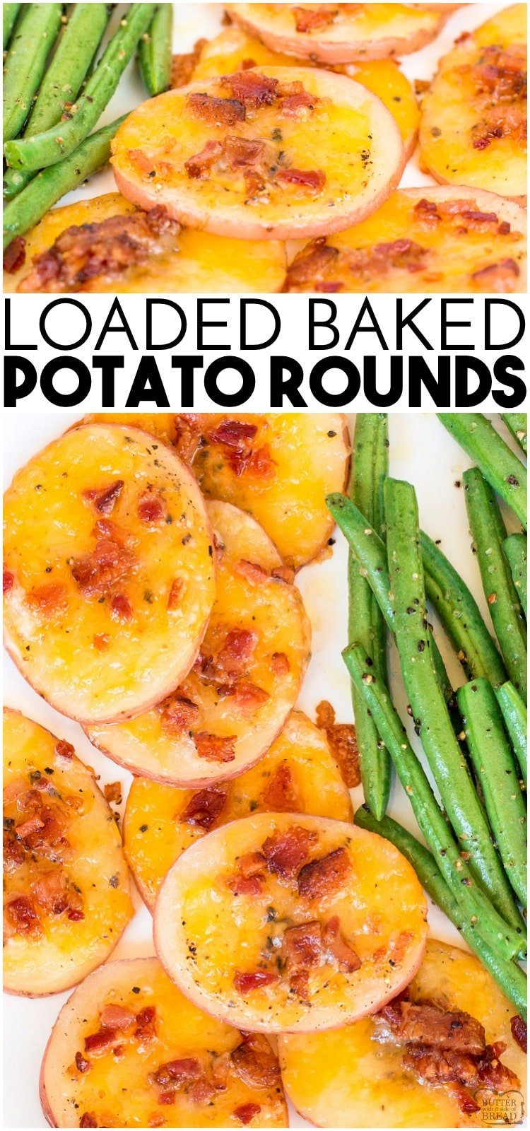 Loaded Baked Potato Roundsare quick and easy to make. Baked potatoes sliced thin and topped with bacon, cheese and sour cream! Perfect appetizer or side dish.