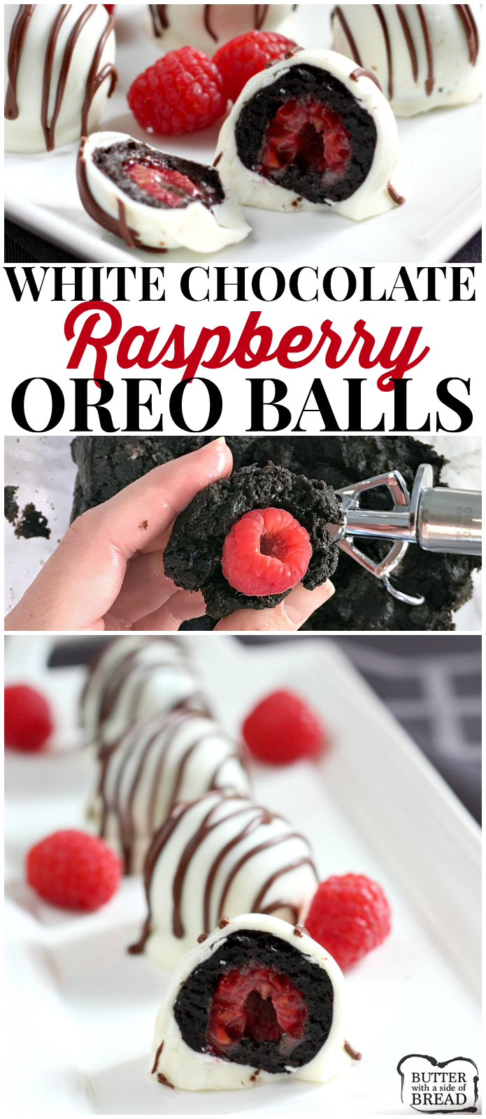 White Chocolate Raspberry Oreo Balls are a delicious no-bake treat made with Oreo cookies, cream cheese and a raspberry in the middle! The Oreo Balls are dipped in a white chocolate candy coating and coated with a chocolate drizzle.
