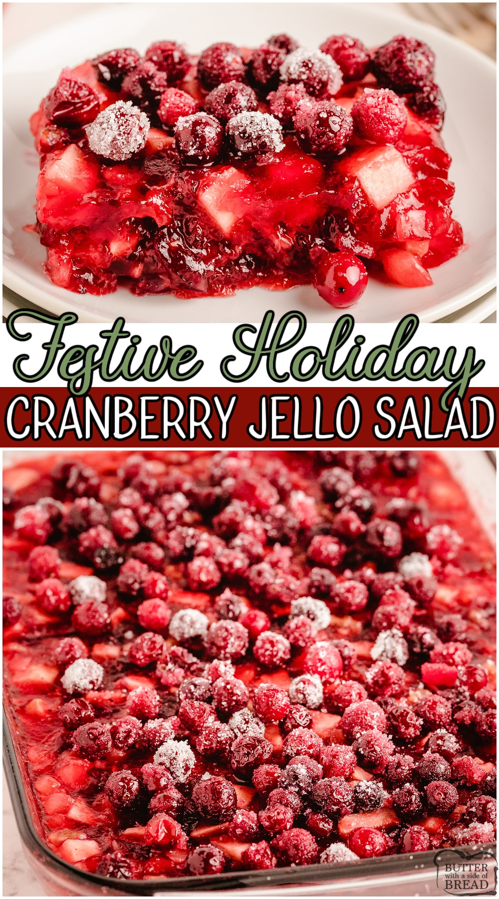 Festive Cranberry Jell-O combines cranberry sauce, jello, pineapple & fresh fruit for a fruity, flavorful holiday side dish that everyone loves!