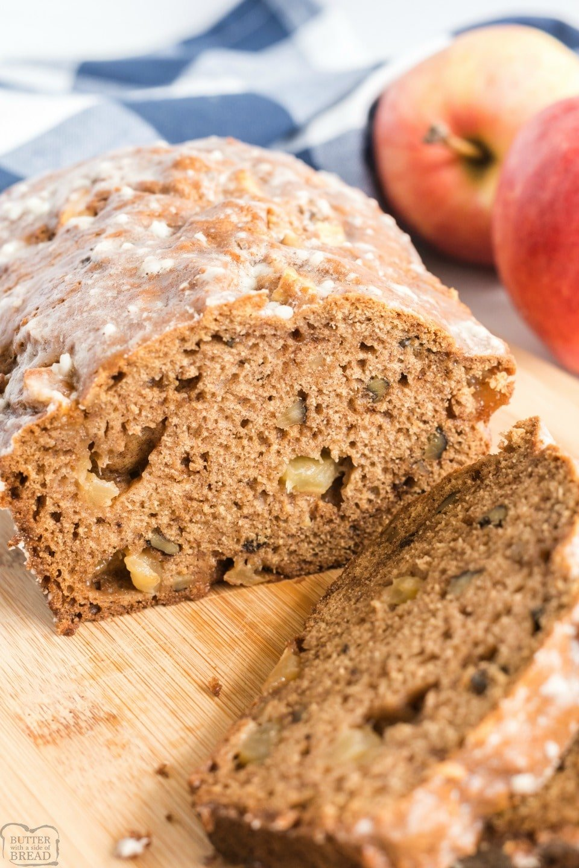Glazed Apple Cinnamon bread made with fresh apple, cinnamon & brown sugar, then topped with a simple vanilla glaze. Easy quick bread recipe with fantastic apple cinnamon flavor.