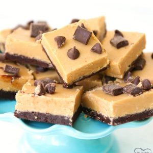Peanut Butter Fudge Brownies made easy with 2 layers, a thin homemade brownie topped with smooth & creamy peanut butter fudge. Perfect chocolate peanut butter combination!