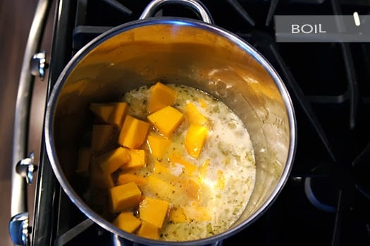 butter with a side of bread, butternut squash soup