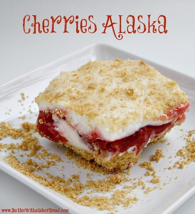 I got this recipe from a friend a long time ago and am not really sure why it is called Cherries Alaska, but I think it's because it has some resemblance to Baked Alaska? I only have ever tried Baked Alaska once and that was many years ago and I don't think I was a fan, but this cherry version is delicious and actually doesn't require any baking at all! It's kind of like cheesecake but without any cream cheese!