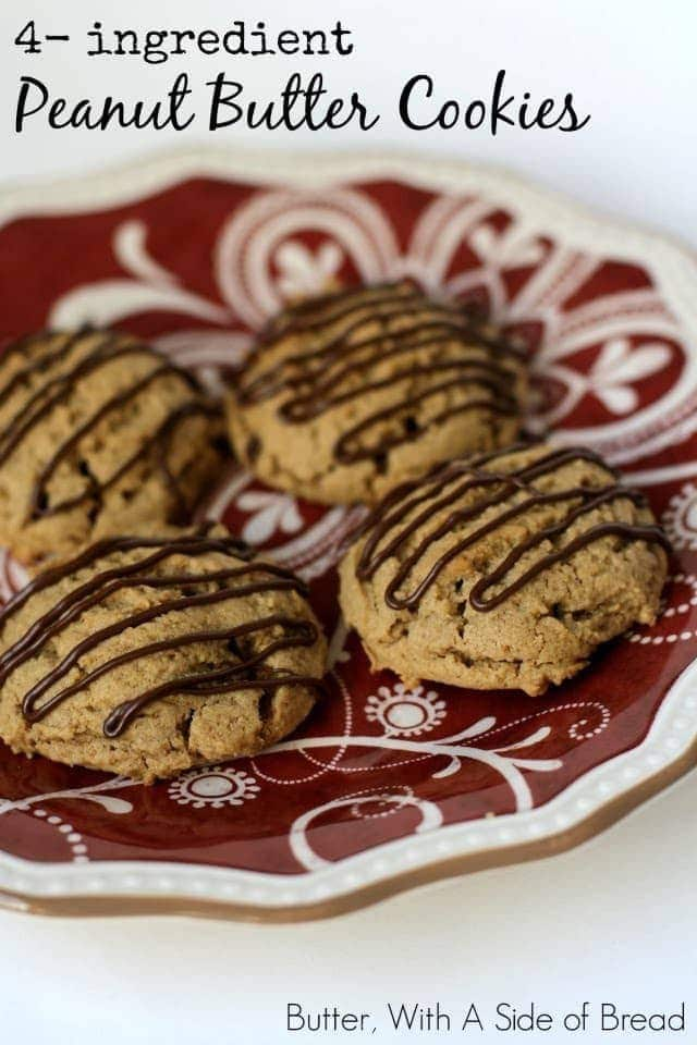 Sometimes you just need to whip up a treat fast. You know, like for random events you signed up to bring cookies to...then forgot about it. Or a fun after-school snack...when your kids just walked in the door. Fear not, these cookies will save you in both cases! Just 4 ingredients and they bake for less than 10 minutes. You don't flatten these cookies with a fork (extra time saved!) so I added a little chocolate drizzle. It's optional, but yummy. No one will ever guess these are so simple to make!