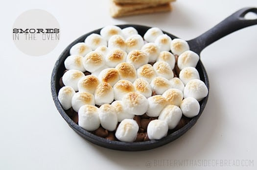smores in the oven, butter with a side of bread