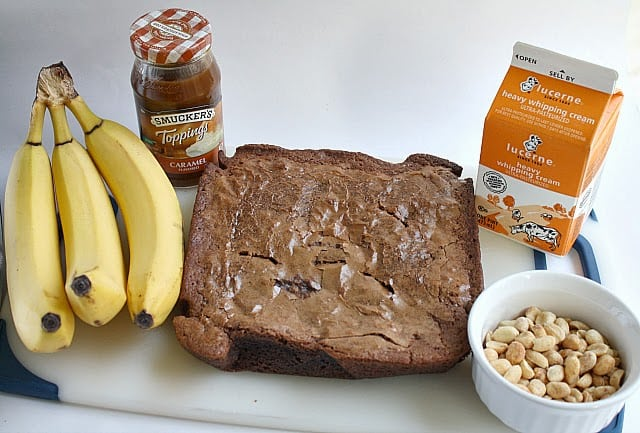Butter With a Side of Bread: Peanut Butter Brownie Trifle with Bananas and Caramel