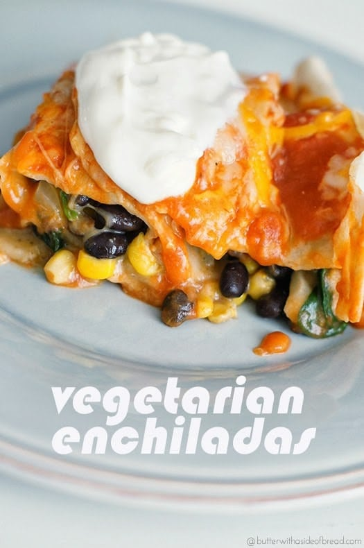 VEGETARIAN ENCHILADAS WITH SPINACH & BLACK BEANS - Butter with a Side ...