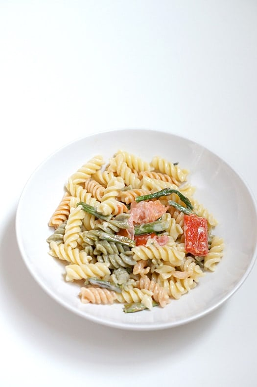pasta with garlic roasted vegetables & the easiest cream sauce ever! at butter with a side of bread.com