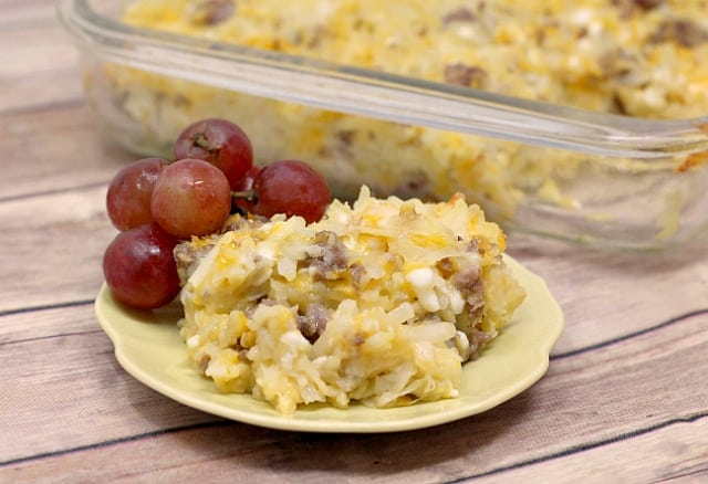 3-Cheese Breakfast Casserolecombines cheddar, Swiss and cottage cheesealong with hash browns and your favorite breakfast meat!