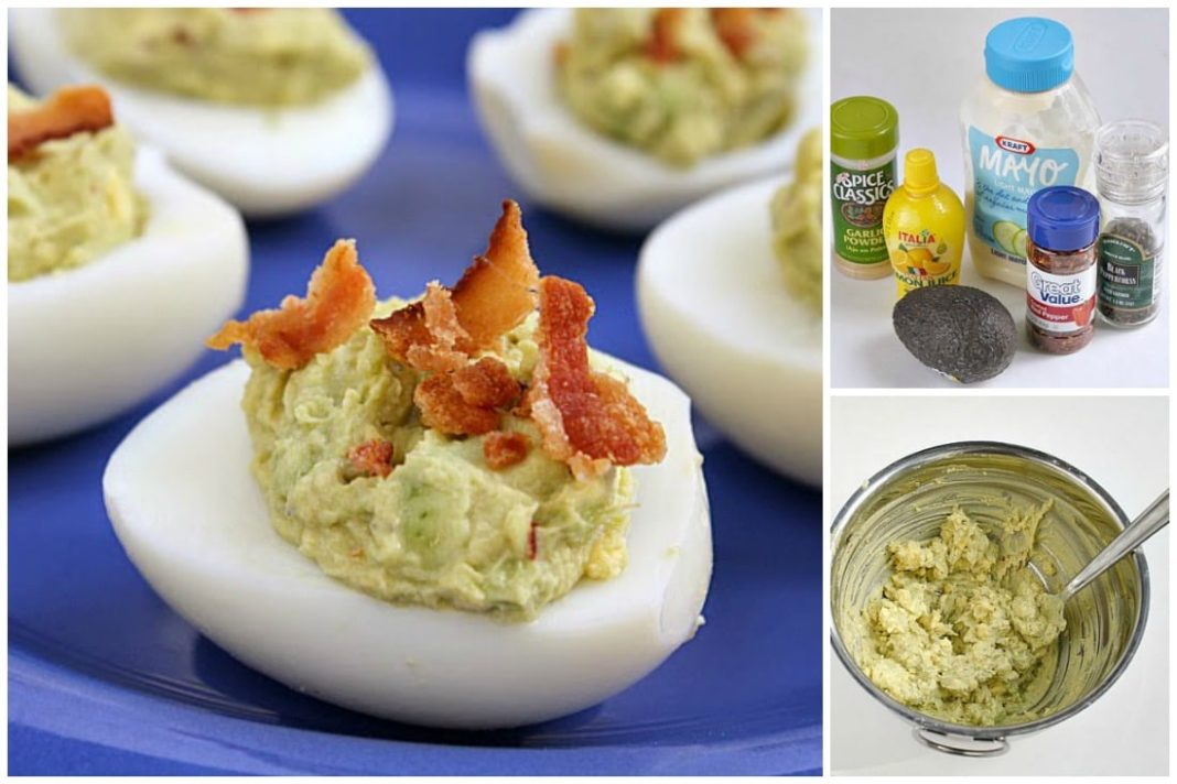 Bacon Avocado Deviled Eggs made with all the classic deviled egg ingredients, plus avocado! Creamy, flavorful and hello, they have bacon on top. These are THE BEST deviled eggs you'll ever try!