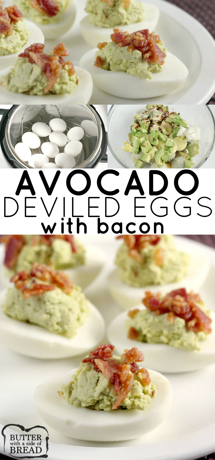 Bacon Avocado Deviled Eggs made with all the classic deviled egg ingredients, plus avocado! Creamy, flavorful and easy appetizer recipe with bacon on top. These are THE BEST deviled eggs you'll ever try!