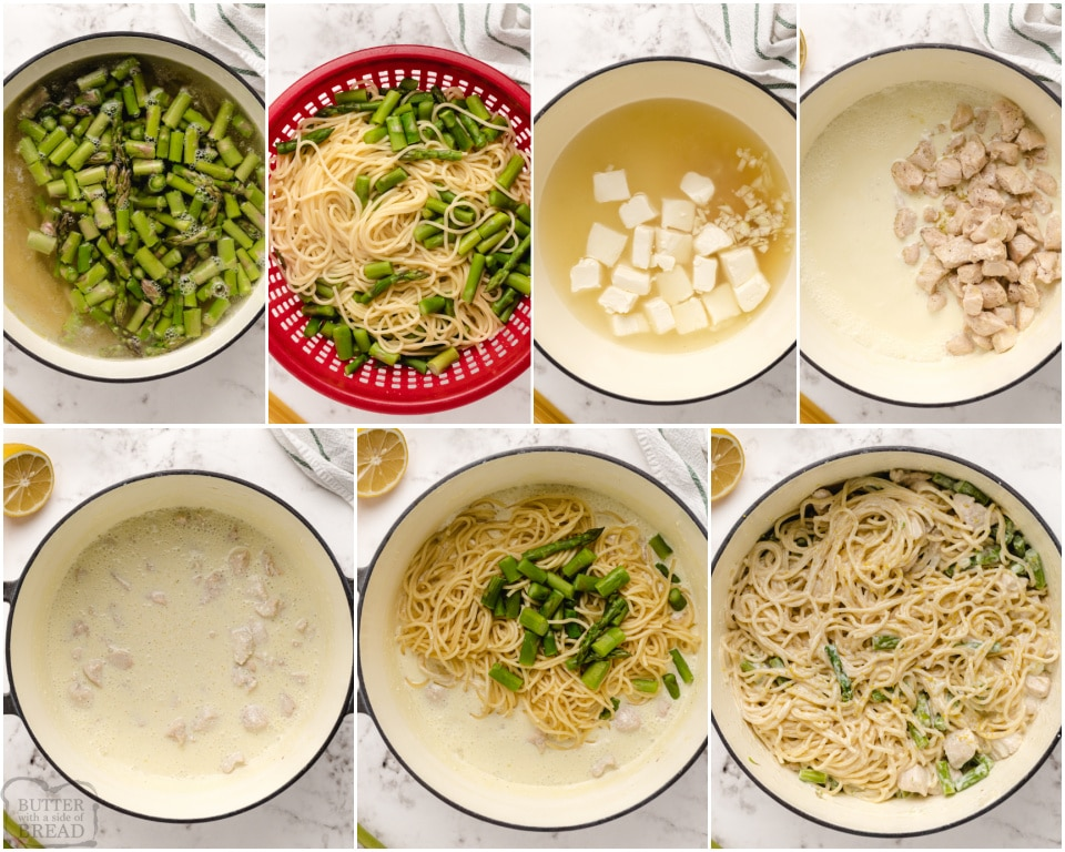 how to make Creamy Lemon Chicken Pasta with asparagus recipe