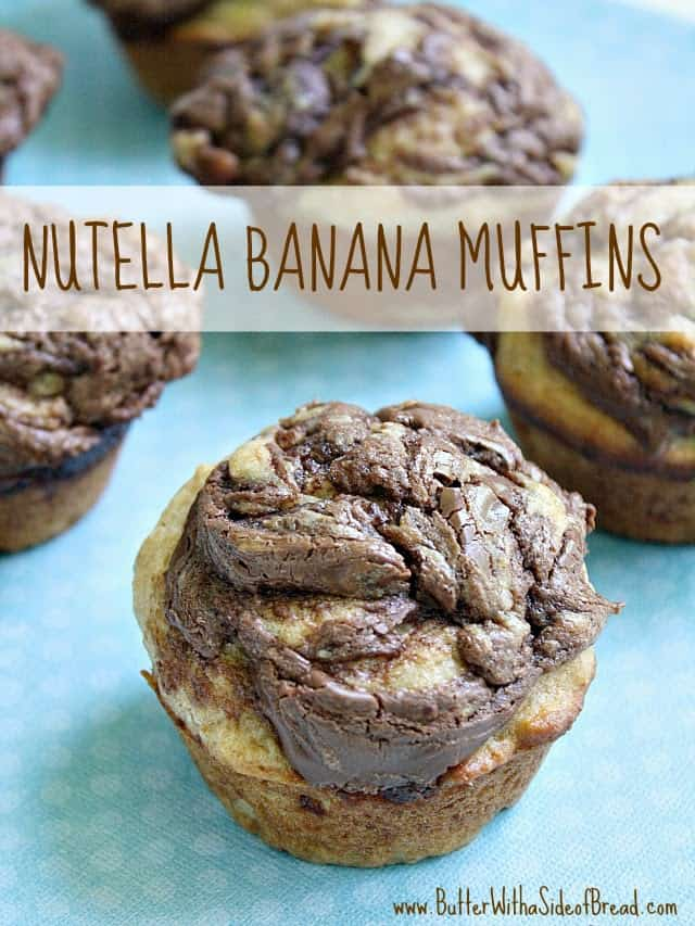 """Nutella Banana Muffins give you that delicious """"treat"""" taste with the Nutella, in an otherwise fairly healthy banana muffin!"""