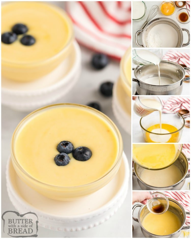 Step by step instructions on how to make homemade vanilla pudding