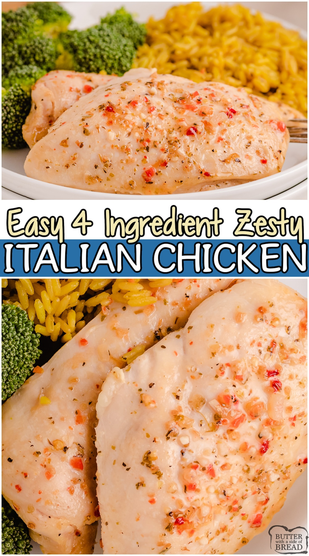 Zesty Italian chicken is an EASY dinner idea made with only 4 ingredients! Chicken, Italian dressing, garlic & Italian seasoning combine for a juicy, flavorful chicken recipe that everyone loves.