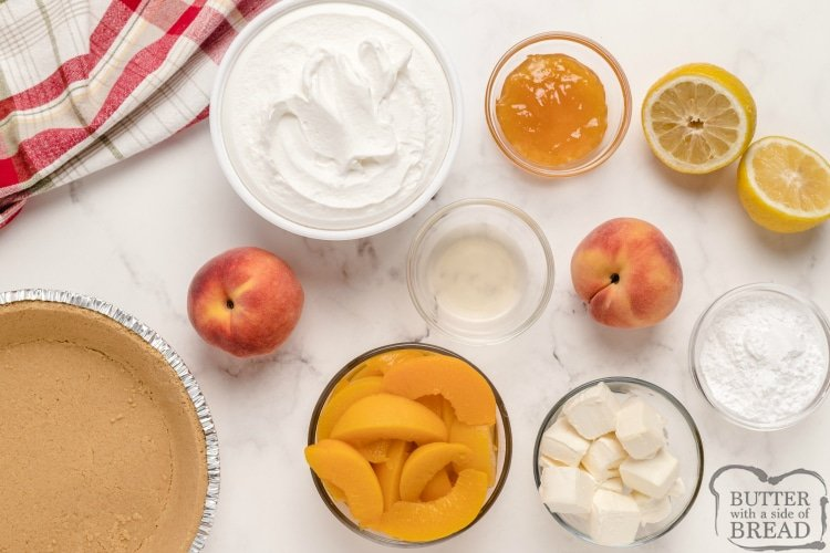 Ingredients in No Bake Peaches and Cream pie
