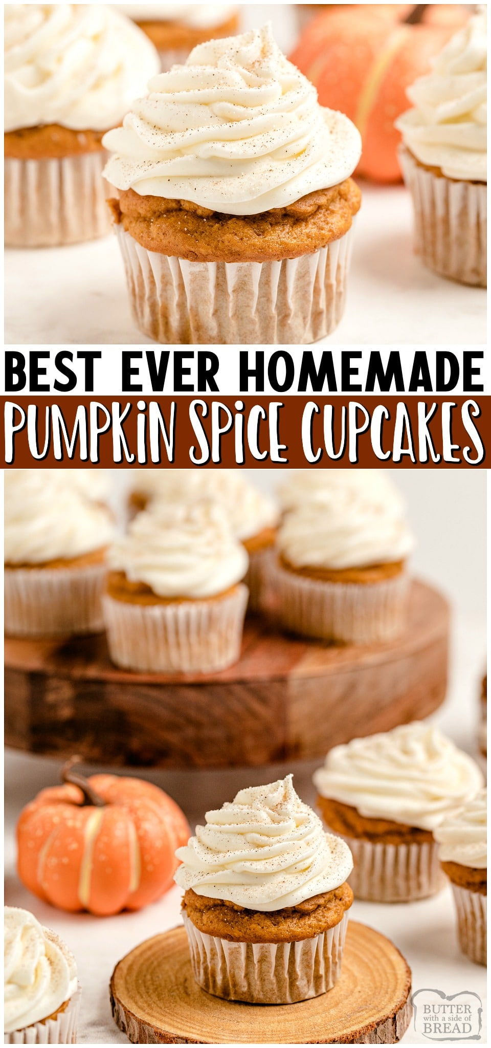 Pumpkin Spice Cupcakes with Cream Cheese Frosting are the perfect little treats for celebrating Fall! Easy recipe that starts with yellow cake mix and yields soft, moist perfectly spiced pumpkin cupcakes!#cupcakes #pumpkin #pumpkinspice #psl #baking #dessert #easyrecipe from BUTTER WITH A SIDE OF BREAD