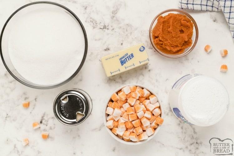 Ingredients in pumpkin fudge recipe