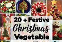 Holiday Vegetable Trays are festive, easy to make, healthy & delicious! Add fun to your Christmas table with one of these great vegetable/ fruit tray ideas.