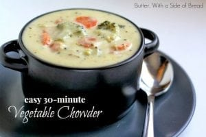 Vegetable Chowder.Butter With a Side of Bread 009top
