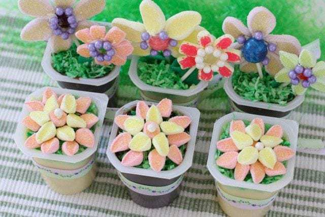 Easter Spring Flower Garden Pudding Cups Snack Packs